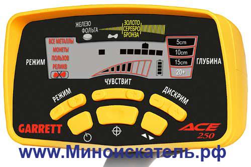 ACE-250 -  недорогой металлоискатель фирмы Гаррет