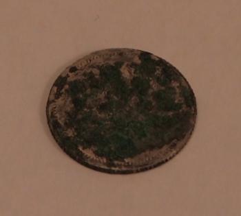 Серебряная монета с зеленым окислом (от меди)