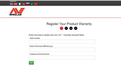Форма регистрации металлоискателя Minelab